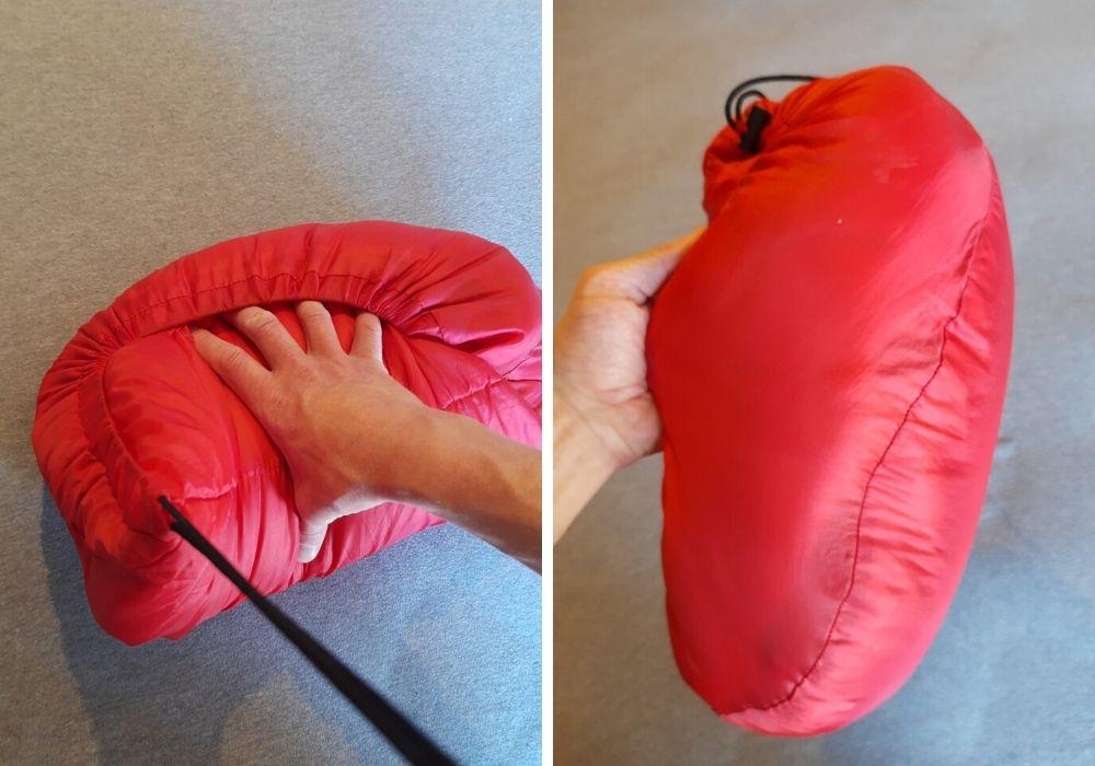 Hvordan pakke ned en sovepose stramt uten pakkeposen